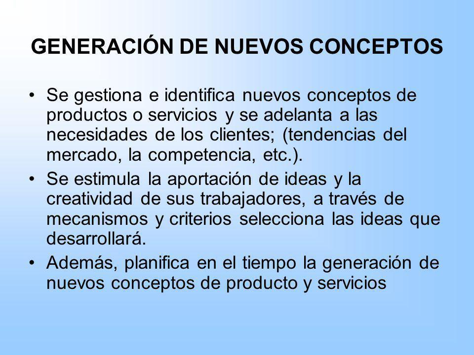 GENERACIÓN DE NUEVOS CONCEPTOS Se gestiona e identifica nuevos conceptos de productos o servicios y se adelanta a las necesidades de los clientes; (te