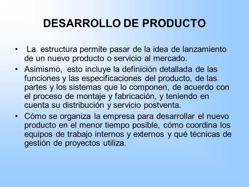 DESARROLLO DE PRODUCTO La estructura permite pasar de la idea de lanzamiento de un nuevo producto o servicio al mercado. Asimismo, esto incluye la def