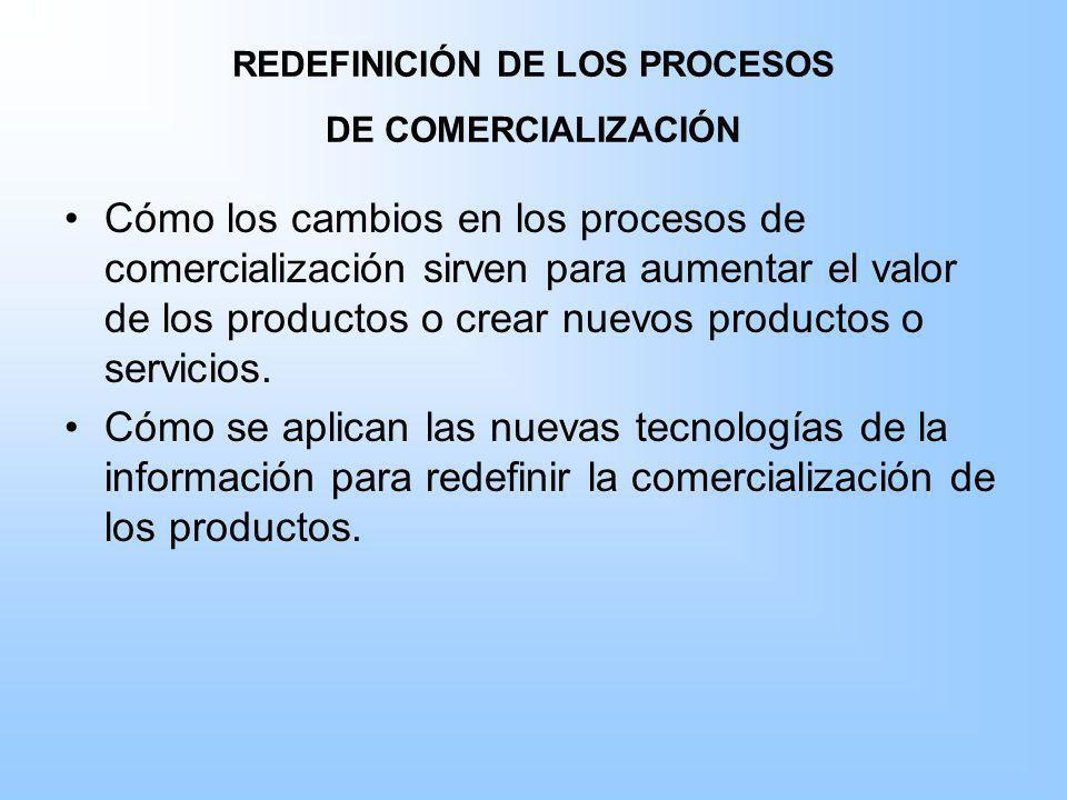 REDEFINICIÓN DE LOS PROCESOS DE COMERCIALIZACIÓN Cómo los cambios en los procesos de comercialización sirven para aumentar el valor de los productos o