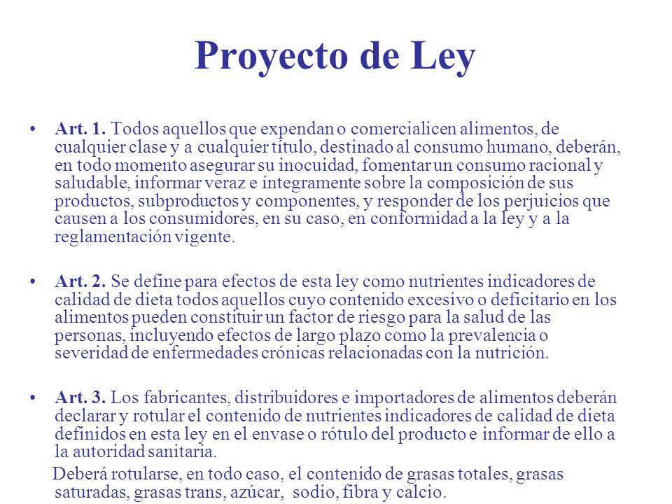 Proyecto de Ley Art. 1. Todos aquellos que expendan o comercialicen alimentos, de cualquier clase y a cualquier título, destinado al consumo humano, d
