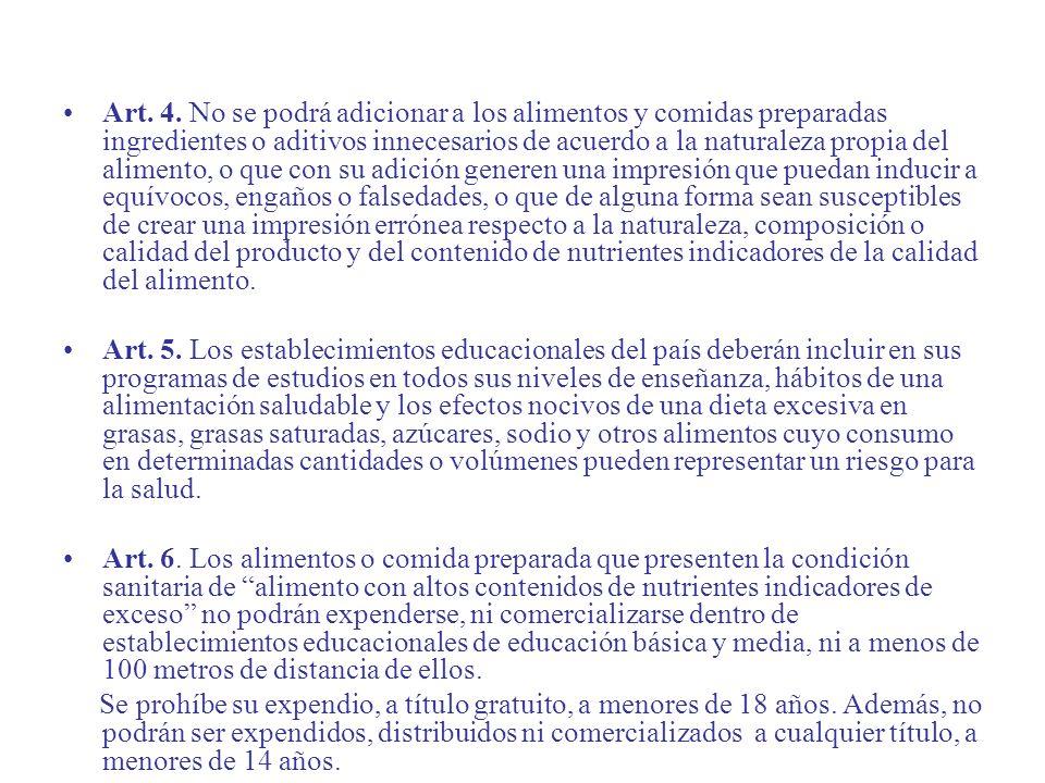 Art. 4. No se podrá adicionar a los alimentos y comidas preparadas ingredientes o aditivos innecesarios de acuerdo a la naturaleza propia del alimento