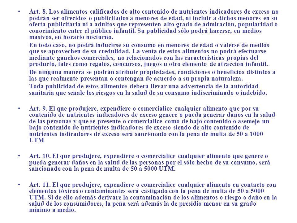 Art. 8. Los alimentos calificados de alto contenido de nutrientes indicadores de exceso no podrán ser ofrecidos o publicitados a menores de edad, ni i