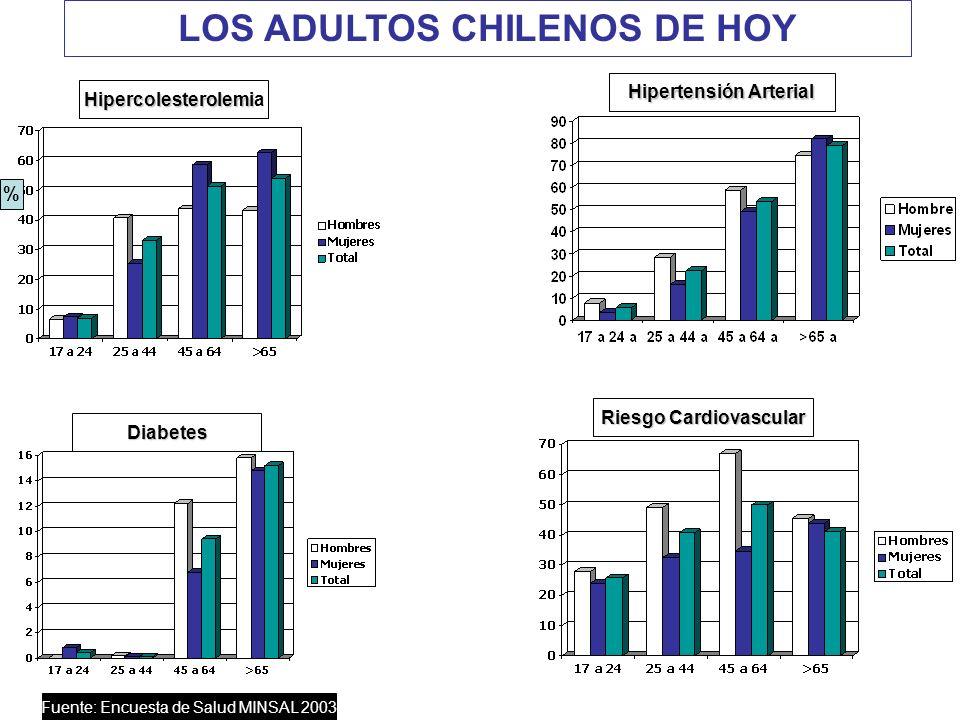 % Diabetes Riesgo Cardiovascular Hipercolesterolemi Hipercolesterolemia Hipertensión Arterial Fuente: Encuesta de Salud MINSAL 2003 LOS ADULTOS CHILEN