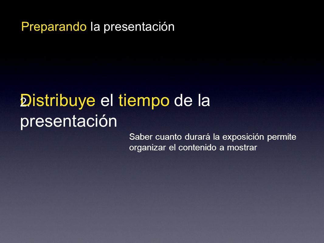 Preparando la presentación Distribuye el tiempo de la presentación 2.