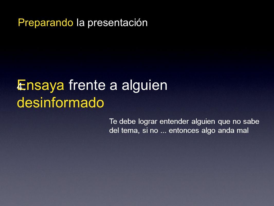 Preparando la presentación Ensaya frente a alguien desinformado 4.