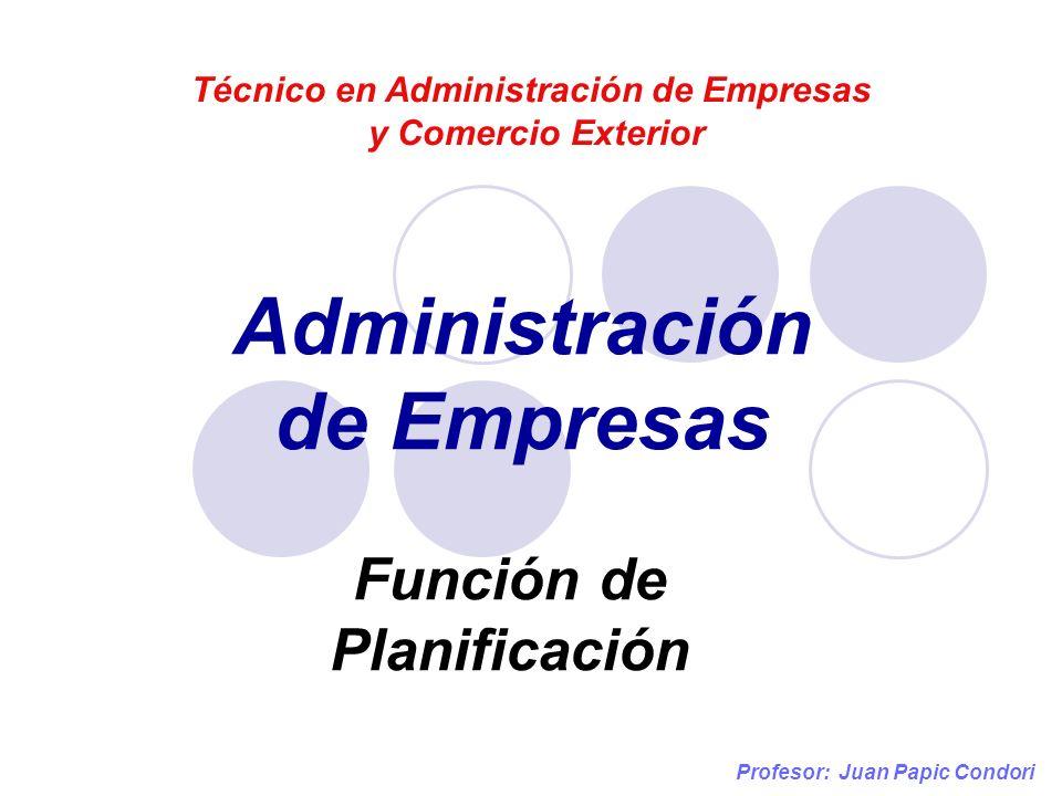 Administración de Empresas Técnico en Administración de Empresas y Comercio Exterior Función de Planificación Profesor: Juan Papic Condori