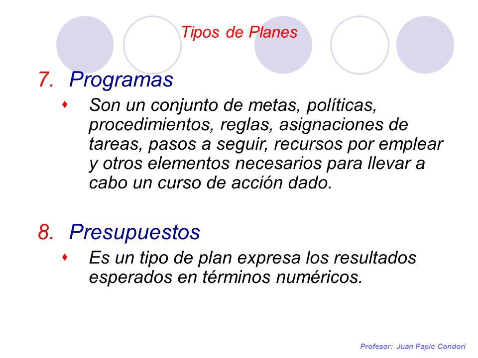 Tipos de Planes Profesor: Juan Papic Condori 7.Programas Son un conjunto de metas, políticas, procedimientos, reglas, asignaciones de tareas, pasos a