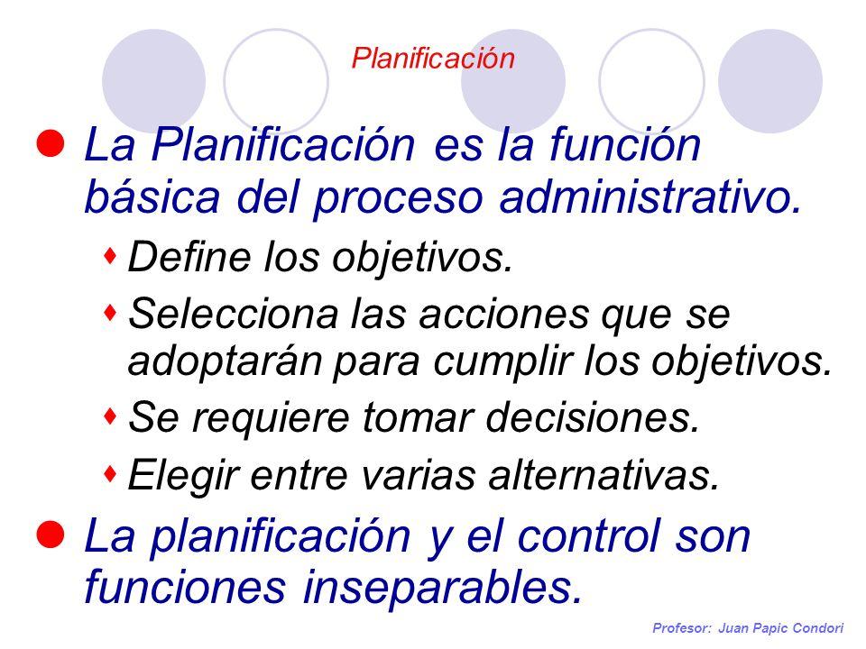 Planificación Profesor: Juan Papic Condori La Planificación es la función básica del proceso administrativo. Define los objetivos. Selecciona las acci