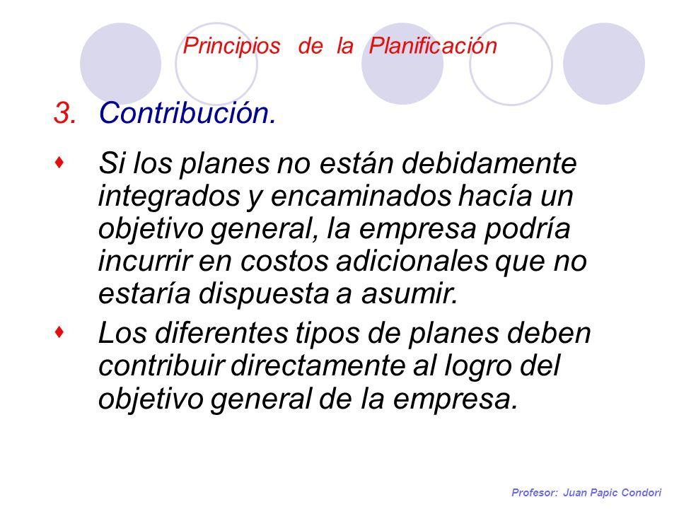 Principios de la Planificación Profesor: Juan Papic Condori 3.Contribución. Si los planes no están debidamente integrados y encaminados hacía un objet