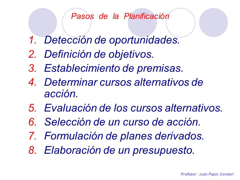 Pasos de la Planificación Profesor: Juan Papic Condori 1.Detección de oportunidades. 2.Definición de objetivos. 3.Establecimiento de premisas. 4.Deter