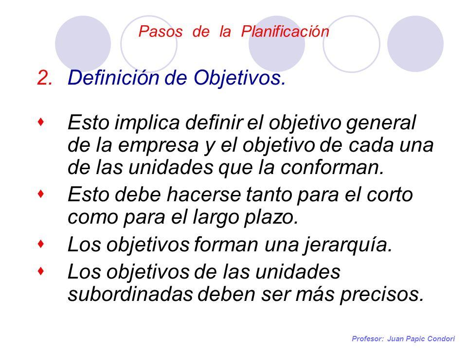 Pasos de la Planificación Profesor: Juan Papic Condori 2.Definición de Objetivos. Esto implica definir el objetivo general de la empresa y el objetivo