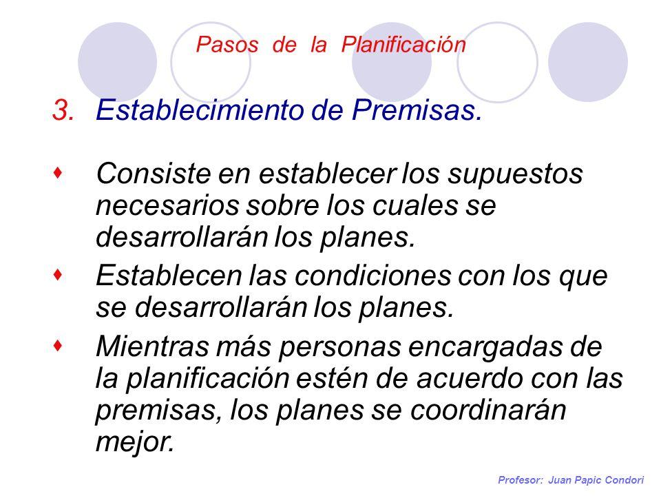 Pasos de la Planificación Profesor: Juan Papic Condori 3.Establecimiento de Premisas. Consiste en establecer los supuestos necesarios sobre los cuales