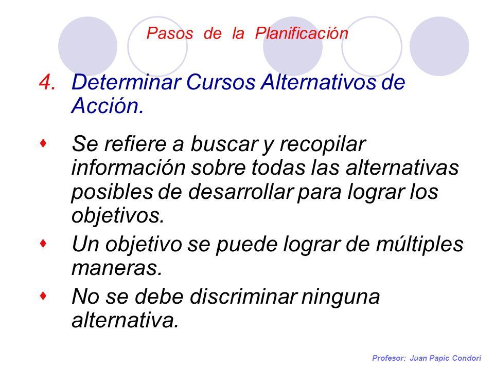 Pasos de la Planificación Profesor: Juan Papic Condori 4.Determinar Cursos Alternativos de Acción. Se refiere a buscar y recopilar información sobre t