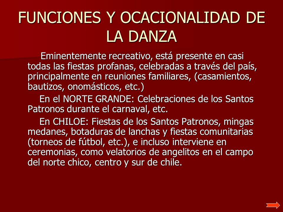FUNCIONES Y OCACIONALIDAD DE LA DANZA Eminentemente recreativo, está presente en casi todas las fiestas profanas, celebradas a través del país, princi