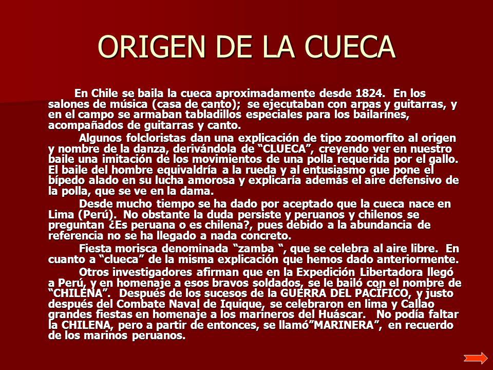 ORIGEN DE LA CUECA En Chile se baila la cueca aproximadamente desde 1824. En los salones de música (casa de canto); se ejecutaban con arpas y guitarra