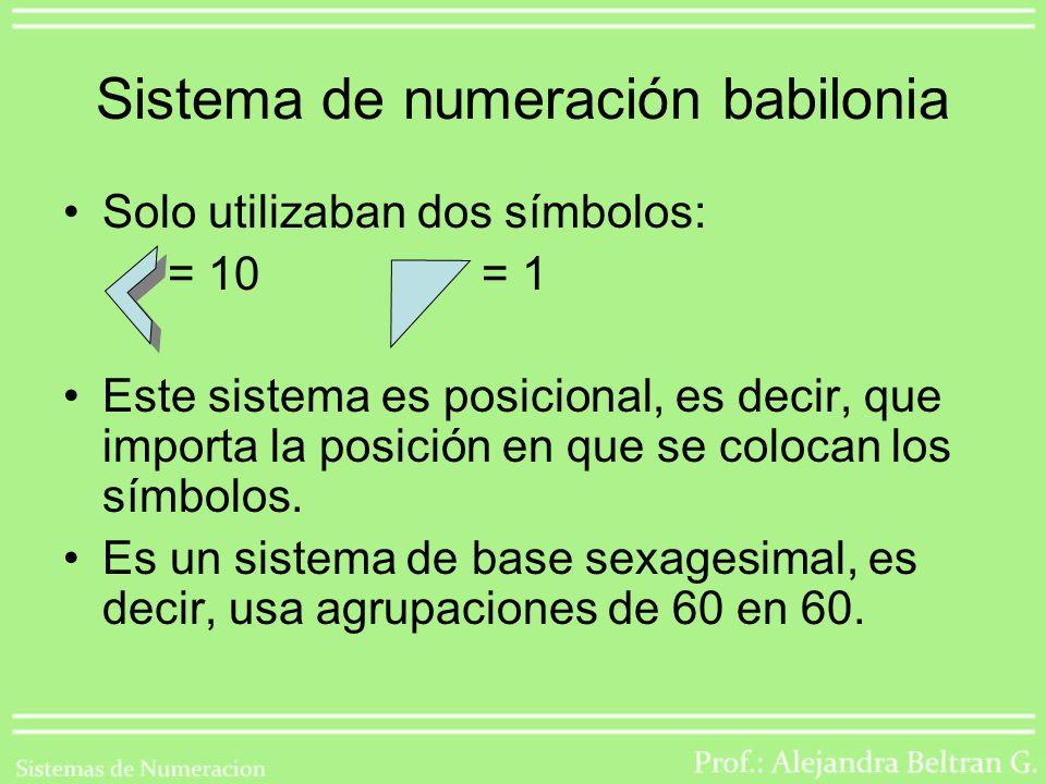 Sistema de numeración babilonia Solo utilizaban dos símbolos: = 10= 1 Este sistema es posicional, es decir, que importa la posición en que se colocan los símbolos.