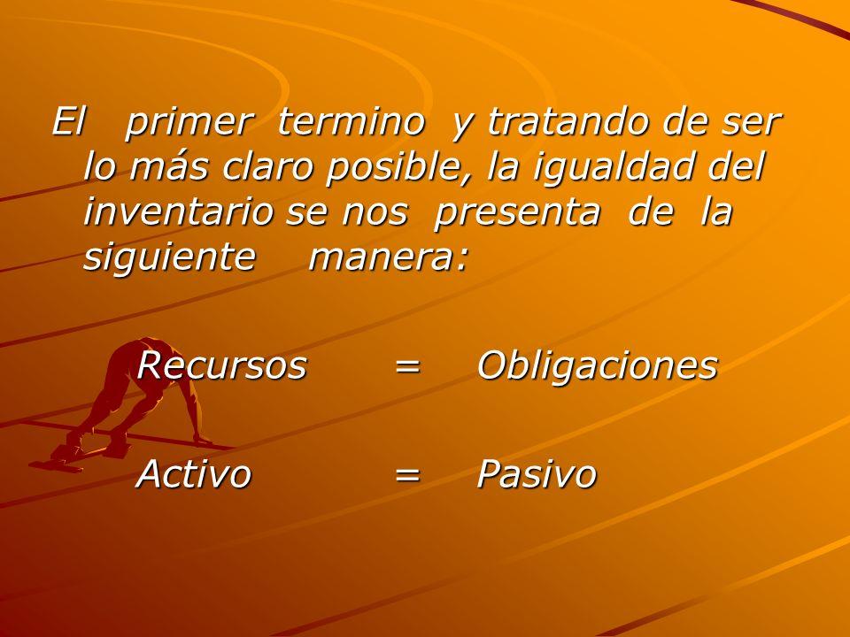 El primer termino y tratando de ser lo más claro posible, la igualdad del inventario se nos presenta de la siguiente manera: Recursos= Obligaciones Activo=Pasivo