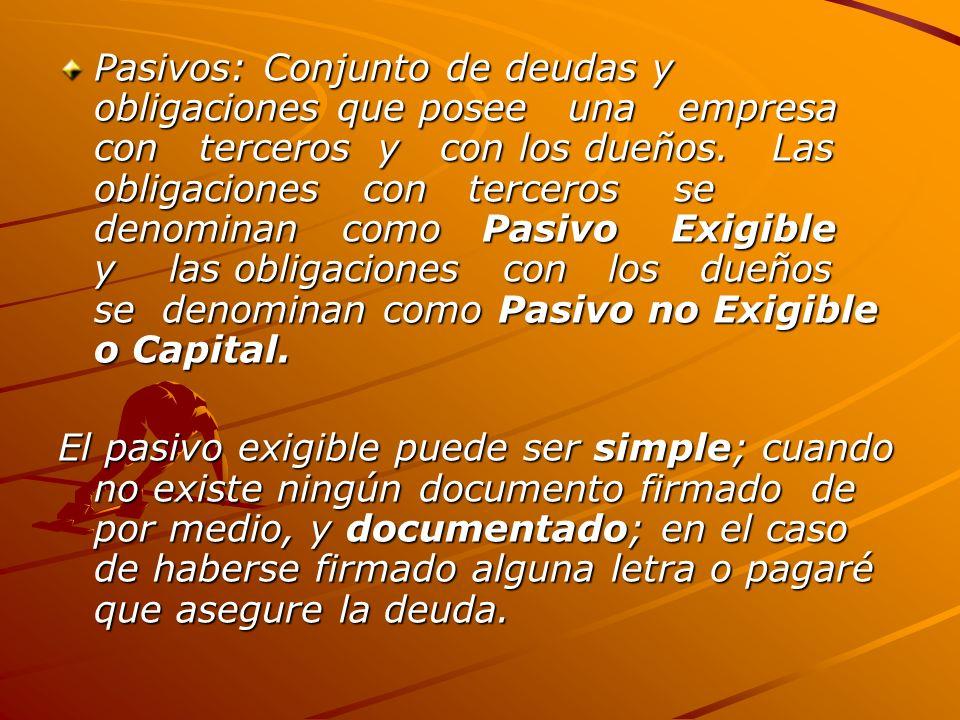 Pasivos: Conjunto de deudas y obligaciones que posee una empresa con terceros y con los dueños.