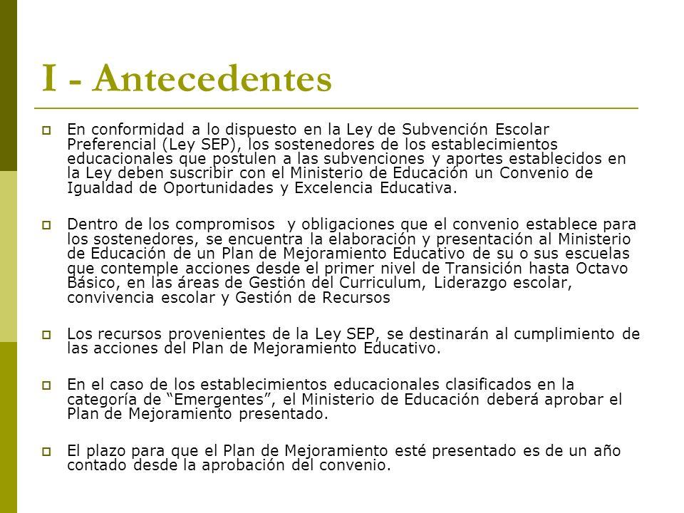 I - Antecedentes En conformidad a lo dispuesto en la Ley de Subvención Escolar Preferencial (Ley SEP), los sostenedores de los establecimientos educac