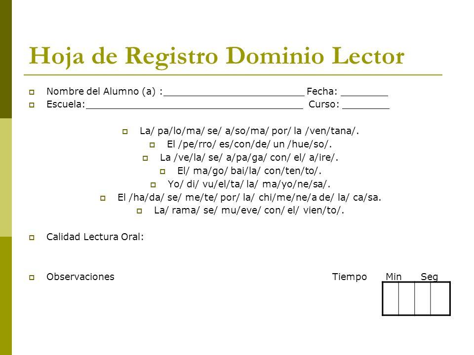 Hoja de Registro Dominio Lector Nombre del Alumno (a) :________________________ Fecha: ________ Escuela:_____________________________________ Curso: _