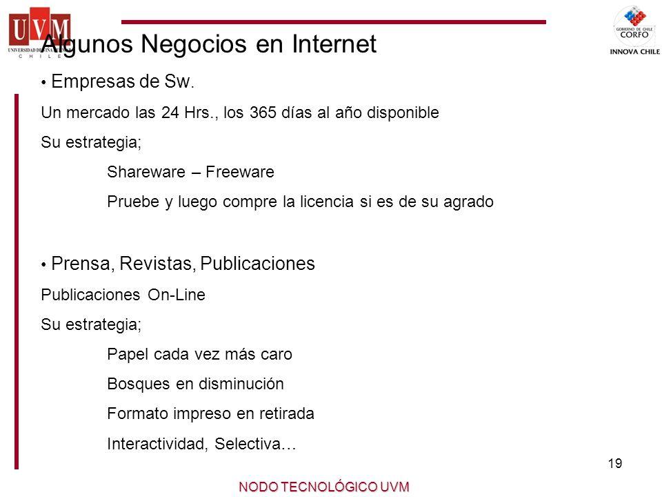 19 NODO TECNOLÓGICO UVM Algunos Negocios en Internet Empresas de Sw.