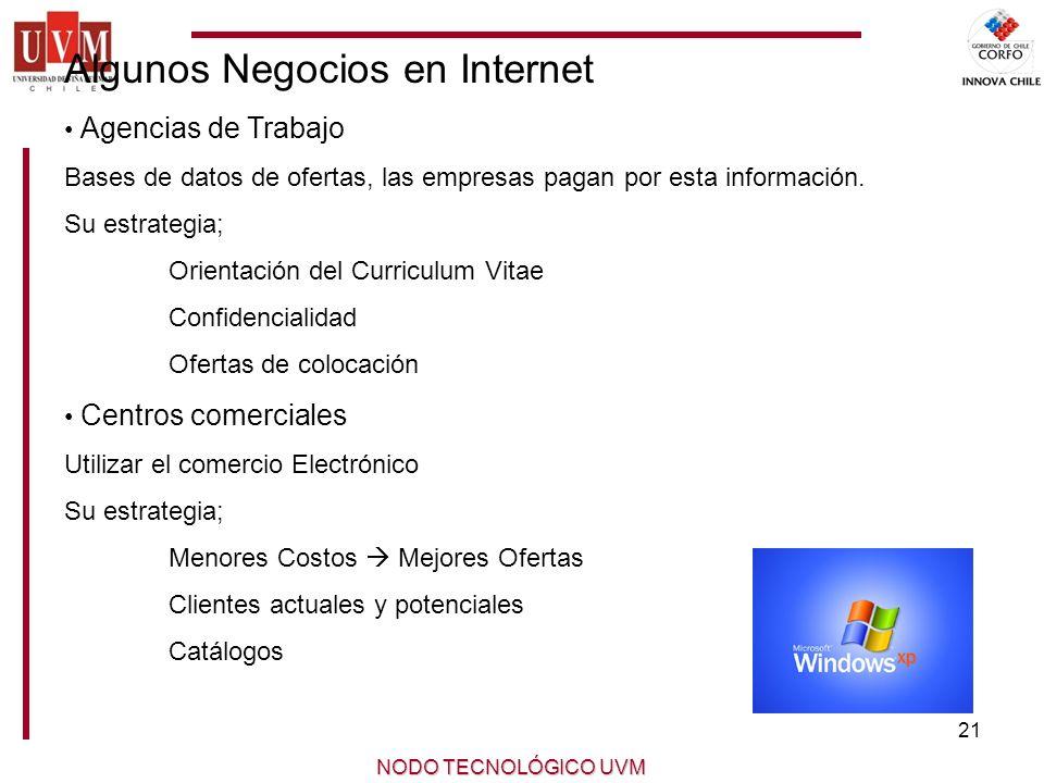 21 NODO TECNOLÓGICO UVM Algunos Negocios en Internet Agencias de Trabajo Bases de datos de ofertas, las empresas pagan por esta información.