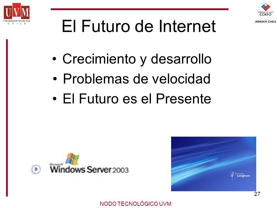 27 NODO TECNOLÓGICO UVM El Futuro de Internet Crecimiento y desarrollo Problemas de velocidad El Futuro es el Presente