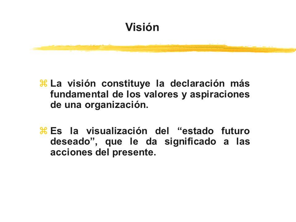 zLa visión constituye la declaración más fundamental de los valores y aspiraciones de una organización. zEs la visualización del estado futuro deseado