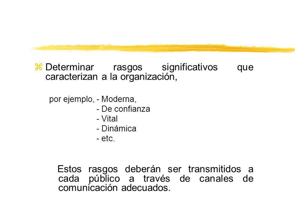 zDeterminar rasgos significativos que caracterizan a la organización, por ejemplo, - Moderna, - De confianza - Vital - Dinámica - etc. Estos rasgos de