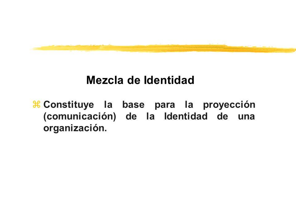 zConstituye la base para la proyección (comunicación) de la Identidad de una organización. Mezcla de Identidad