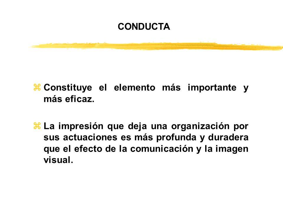 zConstituye el elemento más importante y más eficaz. zLa impresión que deja una organización por sus actuaciones es más profunda y duradera que el efe