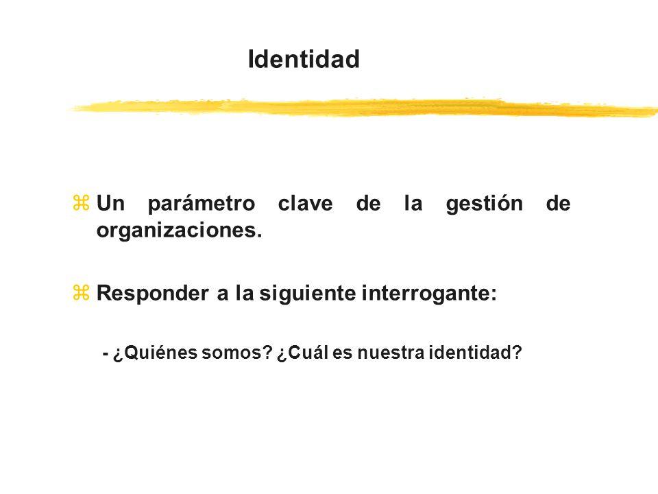 zUn parámetro clave de la gestión de organizaciones. zResponder a la siguiente interrogante: - ¿Quiénes somos? ¿Cuál es nuestra identidad? Identidad