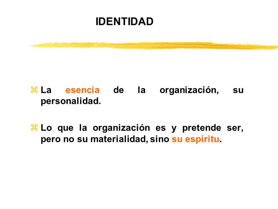 zLa esencia de la organización, su personalidad. zLo que la organización es y pretende ser, pero no su materialidad, sino su espíritu. IDENTIDAD