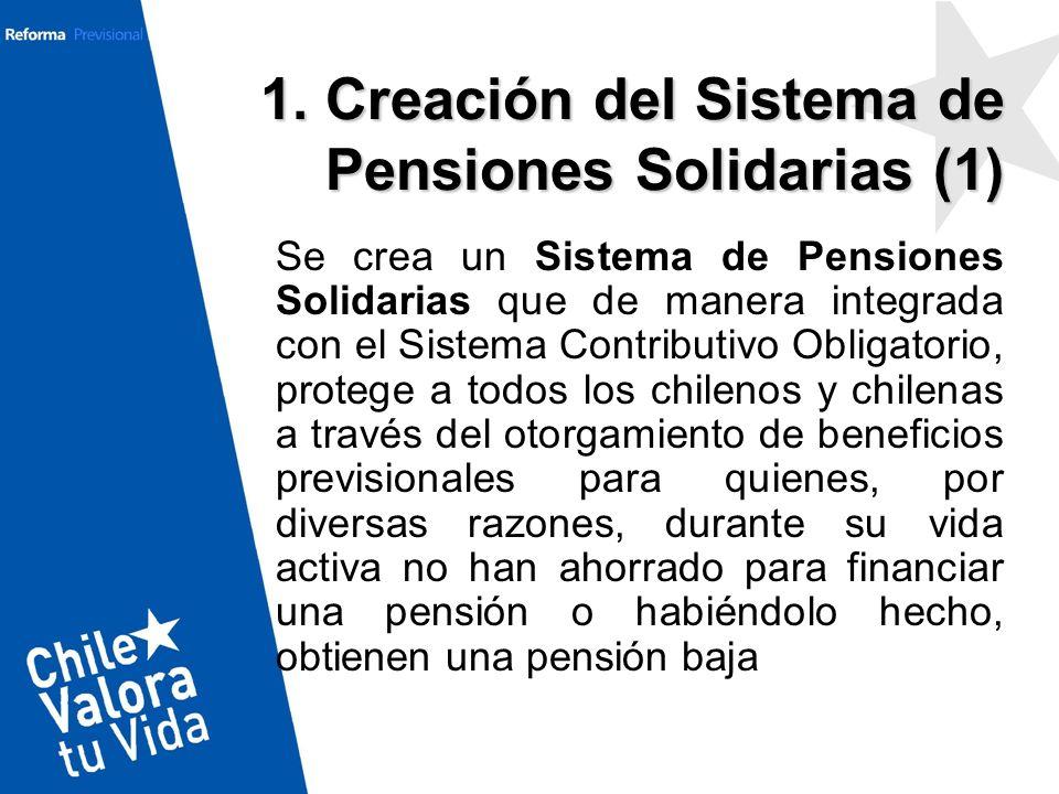Se crea un Sistema de Pensiones Solidarias que de manera integrada con el Sistema Contributivo Obligatorio, protege a todos los chilenos y chilenas a