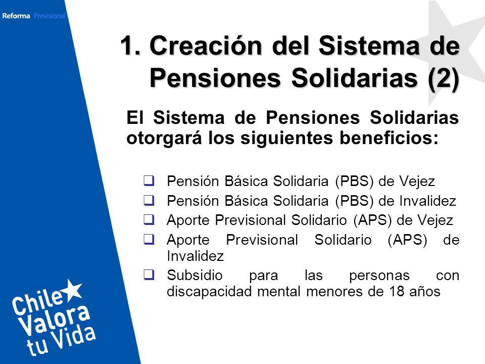 El Sistema de Pensiones Solidarias otorgará los siguientes beneficios: Pensión Básica Solidaria (PBS) de Vejez Pensión Básica Solidaria (PBS) de Inval