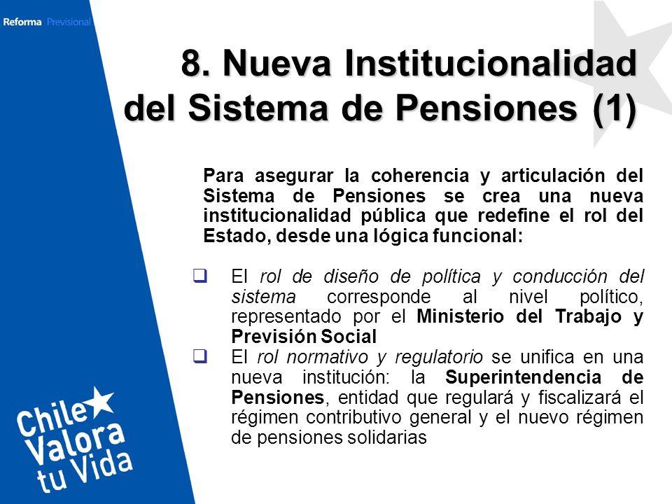 Para asegurar la coherencia y articulación del Sistema de Pensiones se crea una nueva institucionalidad pública que redefine el rol del Estado, desde