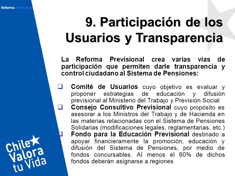La Reforma Previsional crea varias vías de participación que permiten darle transparencia y control ciudadano al Sistema de Pensiones: Comité de Usuar