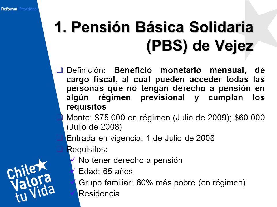 1. Pensión Básica Solidaria (PBS) de Vejez Definición: Beneficio monetario mensual, de cargo fiscal, al cual pueden acceder todas las personas que no
