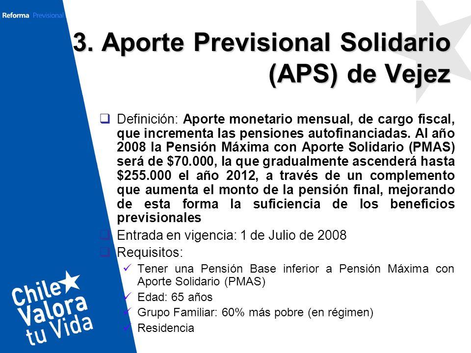3. Aporte Previsional Solidario (APS) de Vejez Definición: Aporte monetario mensual, de cargo fiscal, que incrementa las pensiones autofinanciadas. Al