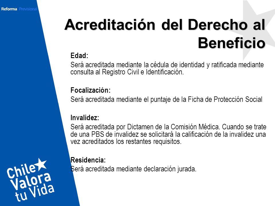 Acreditación del Derecho al Beneficio Edad: Será acreditada mediante la cédula de identidad y ratificada mediante consulta al Registro Civil e Identif