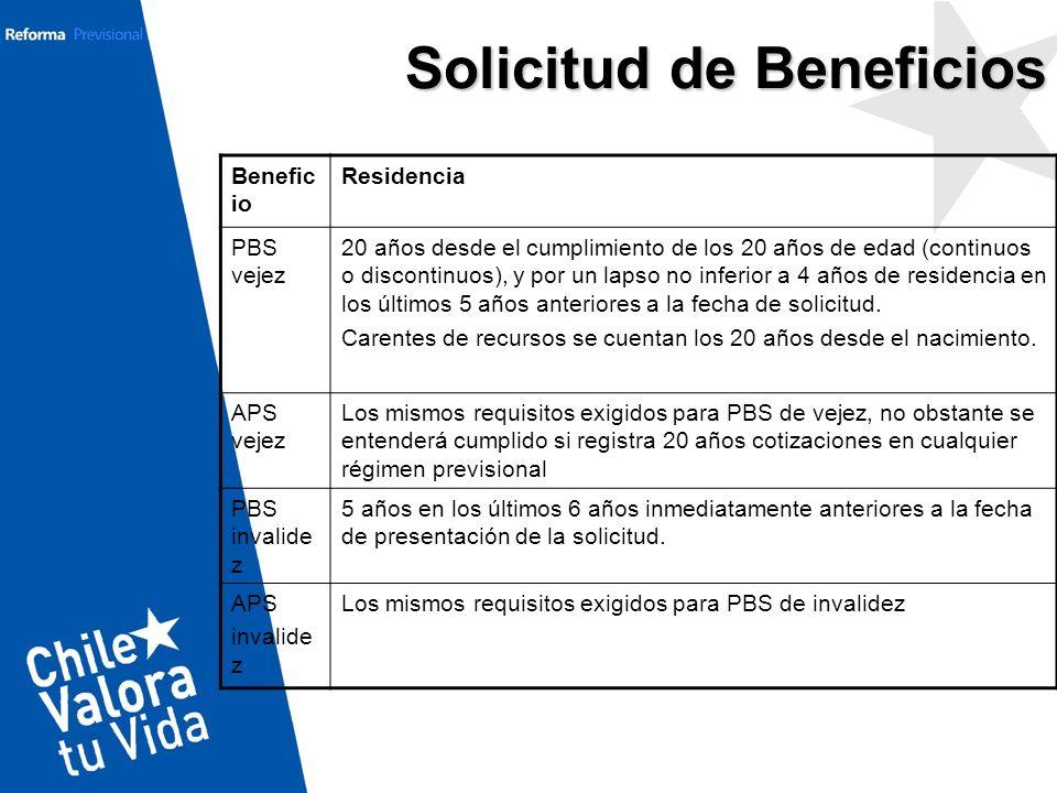 Solicitud de Beneficios Benefic io Residencia PBS vejez 20 años desde el cumplimiento de los 20 años de edad (continuos o discontinuos), y por un laps