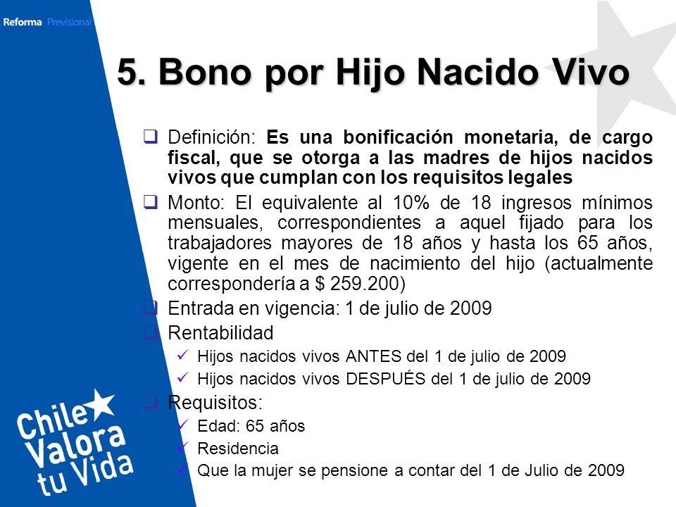 5. Bono por Hijo Nacido Vivo Definición: Es una bonificación monetaria, de cargo fiscal, que se otorga a las madres de hijos nacidos vivos que cumplan