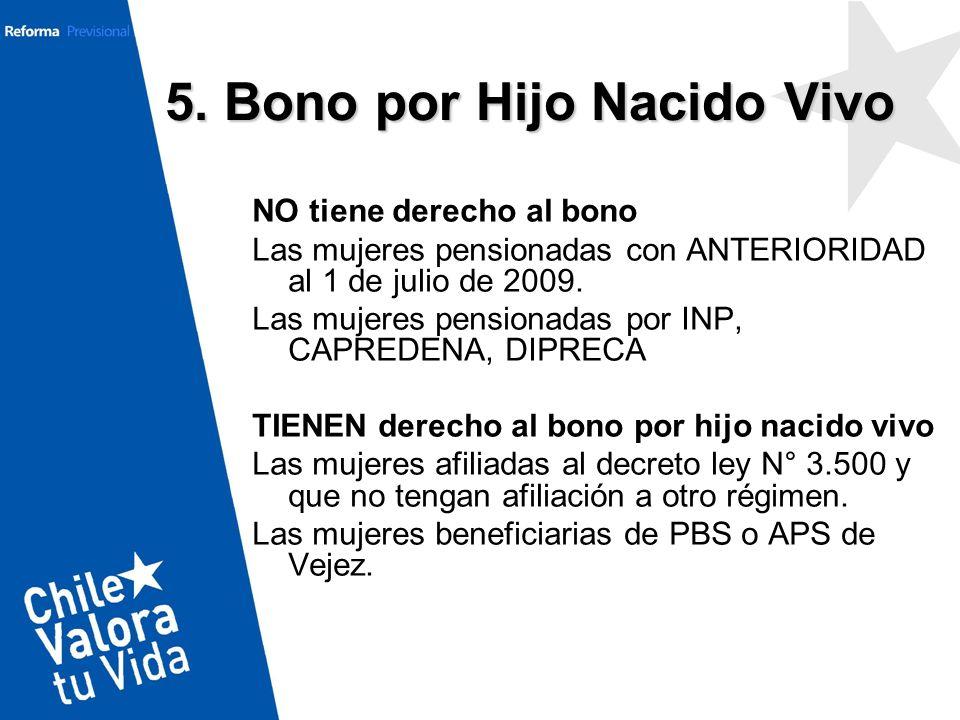 5. Bono por Hijo Nacido Vivo NO tiene derecho al bono Las mujeres pensionadas con ANTERIORIDAD al 1 de julio de 2009. Las mujeres pensionadas por INP,
