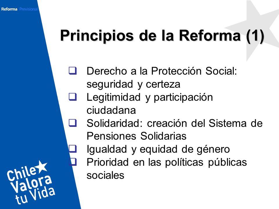 Derecho a la Protección Social: seguridad y certeza Legitimidad y participación ciudadana Solidaridad: creación del Sistema de Pensiones Solidarias Ig