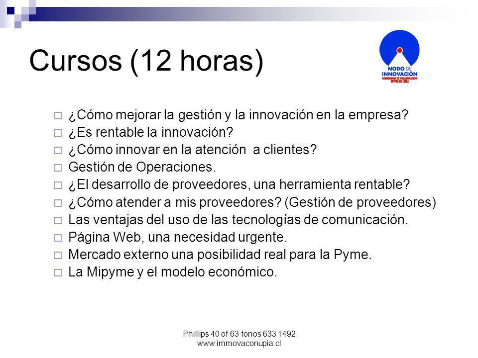 Phillips 40 of 63 fonos 633 1492 www.immovaconupia.cl Cursos (12 horas) ¿Cómo mejorar la gestión y la innovación en la empresa.