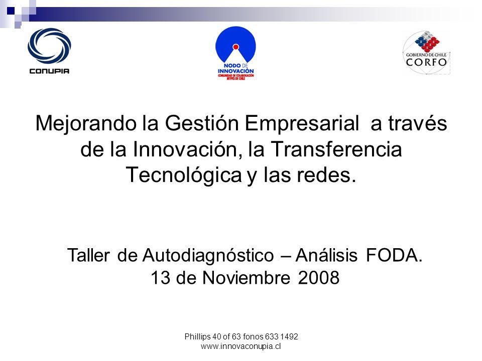 Phillips 40 of 63 fonos 633 1492 www.innovaconupia.cl Mejorando la Gestión Empresarial a través de la Innovación, la Transferencia Tecnológica y las r