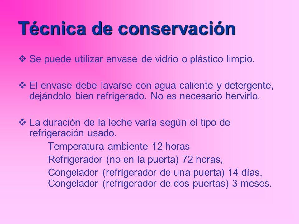Técnica de conservación Se puede utilizar envase de vidrio o plástico limpio. El envase debe lavarse con agua caliente y detergente, dejándolo bien re