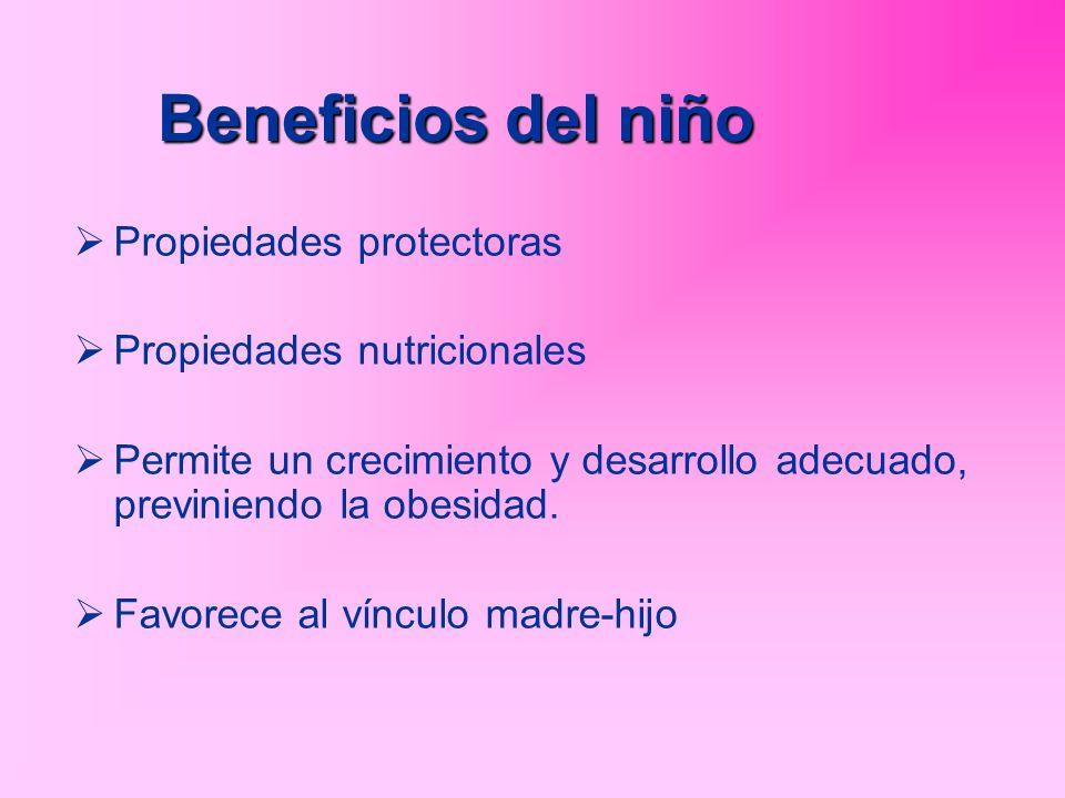 Propiedades protectoras Propiedades nutricionales Permite un crecimiento y desarrollo adecuado, previniendo la obesidad. Favorece al vínculo madre-hij