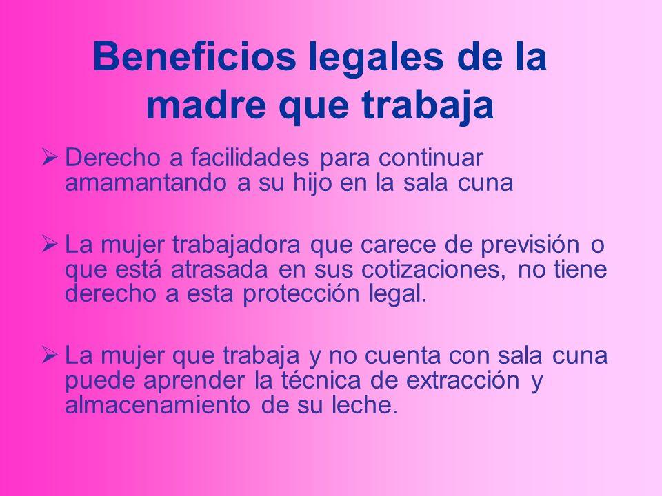 Beneficios legales de la madre que trabaja Derecho a facilidades para continuar amamantando a su hijo en la sala cuna La mujer trabajadora que carece