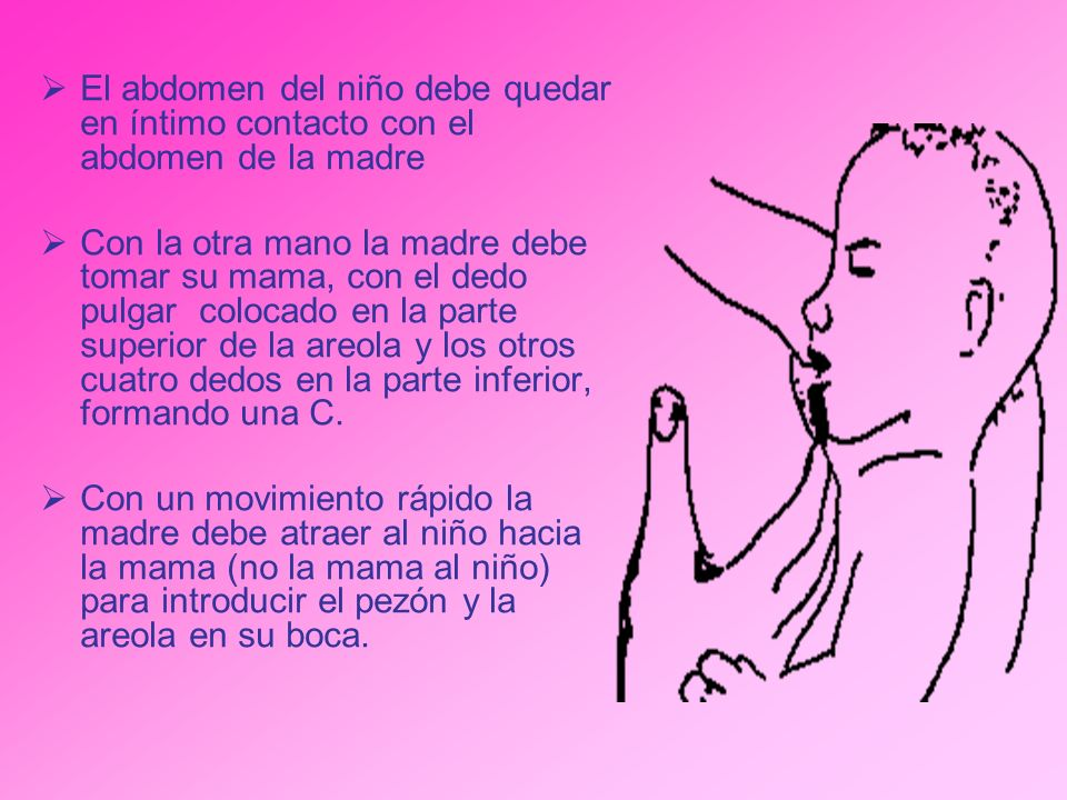 El abdomen del niño debe quedar en íntimo contacto con el abdomen de la madre Con la otra mano la madre debe tomar su mama, con el dedo pulgar colocad